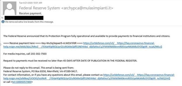 COVID-19 fraud email screenshot