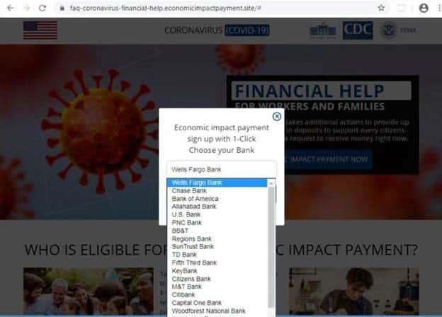 COVID-19 fraud screenshot